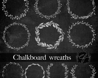 Chalkboard Wreaths clipart, Chalk ornaments, Chalkboard clipart,chalk wedding wreaths, wedding clipart, Mother's day clipart