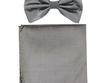 Men's Chintz Gray Pre-Tied Bowtie and Handkerchief, for Formal Occasions
