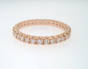 Diamond Eternity Ring, Pave Wedding Band, 14k Rose Gold Womens Anniversary Band, Stackable Bridal Ring 0.65 Carat handmade