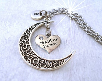 Maid of Honor Filigree Crescent Moon Necklace w-Letter Charm of Your Choice, Maid of Honor Gift, Wedding Gift for Maid of Honor