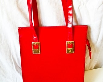 SALE Vintage 70s cherry red tote