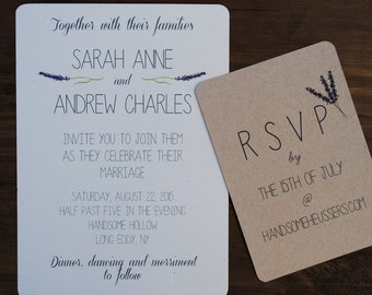Lavender Wedding Invitations//Downloadable PDF