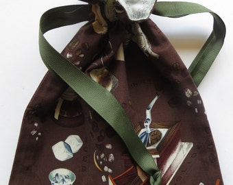 Coffee Themed Lined Drawstring Fabric Bag