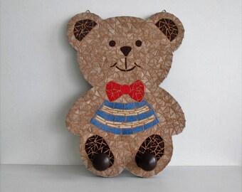 Coat rack wall mosaic Teddy bear