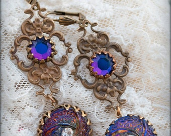 Violet Nebula ~ The Earrings -Peacocks and Paisley- Statement earrings with antique Czech glass buttons and vintage Vulcan Swarovski stones