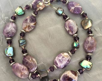 "Chevron amethyst and abalone shell necklace, 22"" long, Purple green blue, Semiprecious Natural Stone Jewelry, OOAK artisan unique"