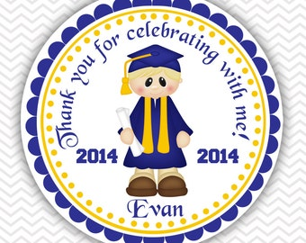 Graduation Boy - Personalized Stickers, Party Favor Tags, Thank You Tags, Gift Tags
