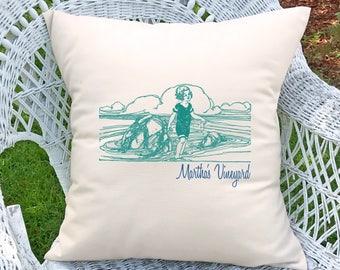 Customized girl at beach pillow (INCLUDES PILLOW INSERT)
