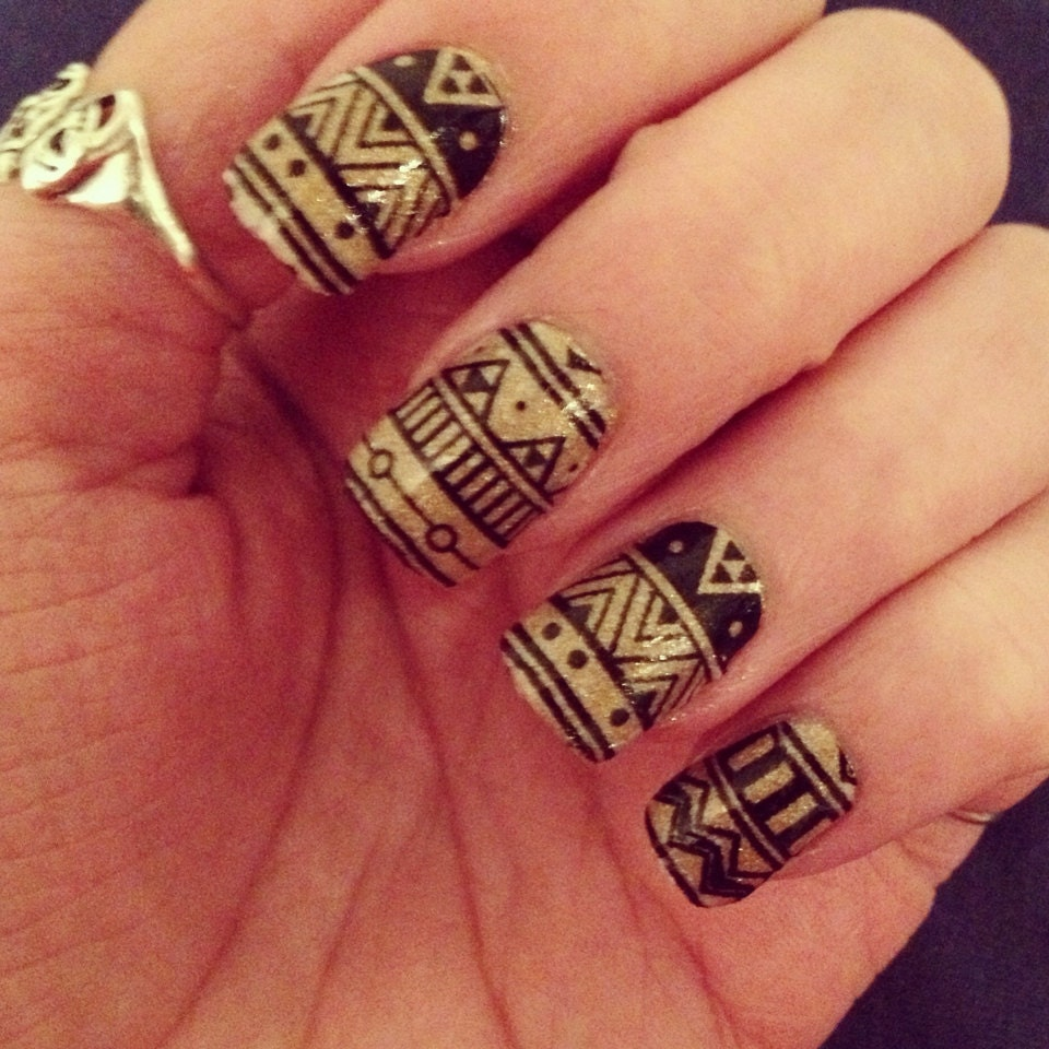 Black Aztec Nail Wraps