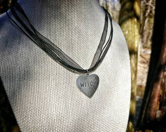 Witch Heart organza necklace / Witch charm / adjustable organza necklace