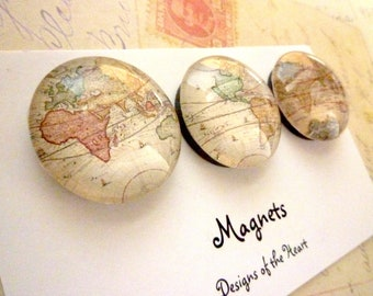 Round Glass Magnet set - Vintage Maps