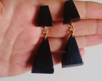 Earrings vintage 80's black geometric