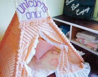 Chenille Children's Teepee, Kid's Teepee, Teepee Tent, Play Tent, Children's Teepee, Lace Teepee, Play Teepee