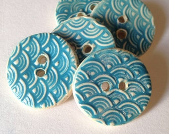 Ceramic Buttons, Patterned Buttons, Wave Buttons, Round Clay Buttons, Sewing Buttons,  Pottery Buttons, Turquoise Buttons, Price Per Button