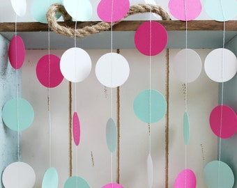 Mint Green, Hot Pink and White 12 ft Circle Paper Garland- Wedding, Birthday, Bridal Shower, Baby Shower, Party Decorations
