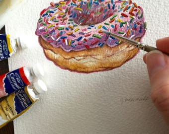 Donut! Pink frosted donut painting with rainbow sprinkles
