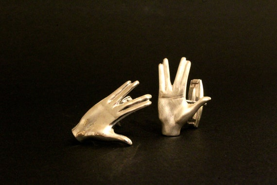 Star Trek hand salute cuff links jewelry trekies cufflinks Mr Spock salute sci-fi jewelry Live Long and prosper handmade sterling silver