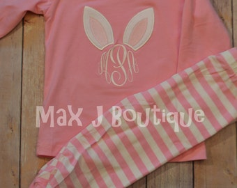 Monogrammed Applique Pink Stripe Spring and Easter Bunny Pajamas