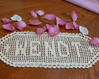 Nom au crochet fait à la main personnalisé napperons - napperon au Crochet en nom - personnalisé - napperon en Crochet personnalisé nom - lettres personnalisées - cadeau