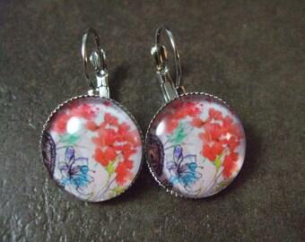 """Earrings """"flower"""" Cabochon silver stud earring"""