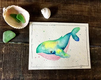 Ocean Friends {Whale} Watercolour Printable | Nursery Print | Nautical Print | Coastal Art | Downloadable Art | Sea Creatures Art | 3 Sizes