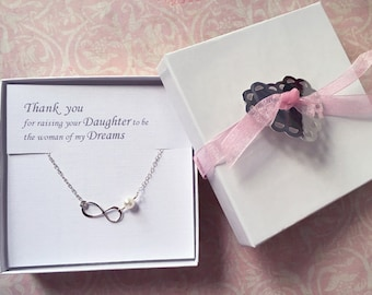 Thank You for raising your daughter to be the Woman of my Dreams, Mother of the Bride Necklace, Infinity Necklace, LIJ13013-6/ LIJ 13039-6