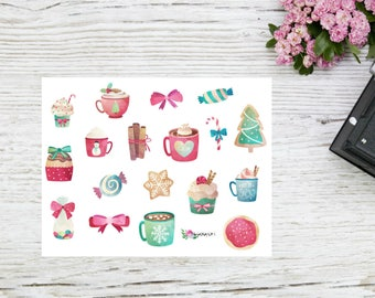 Planner stickers winter Christmas decorations cosy winter stickers