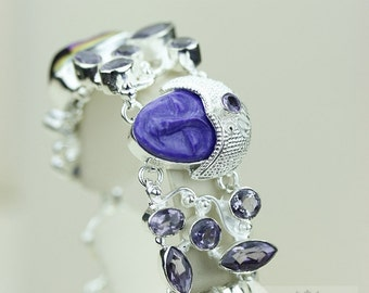 CHAROITE Carved Goddess Face TITANIUM Drusy DRUZY 925 Solid Sterling Silver Bracelet & Free Worldwide Shipping B741