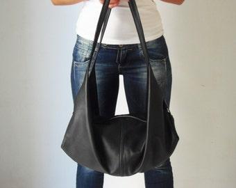 Black leather shoulder bag  - Black handbag - Soft leather bag -  DeLuna