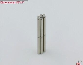 "14-Ct (Free Shipping) Neodymium N40 NdFeb Rod Magnets  1/8"" x 1"""