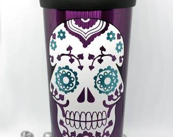 Sugar skull travel mug glitter detail