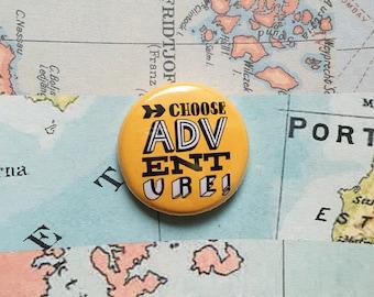 Choose adventure! Hand drawn typographic badge (yellow)