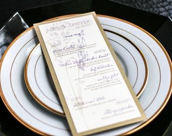 "Rustic Wedding Dinner Menus, Purple and Gold, Table Setting, Rustic Decor, Outdoor Wedding - ""Graceful Botanic"" Flat Menu, 1 Layer - DEPOSIT"