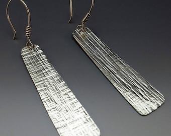 Hammered Silver Dangle Earrings, Drop Earrings, Hammered Earrings, Silver Earrings, Turquoise  Earrings, Handmade, Metalsmith, Art Jewelry
