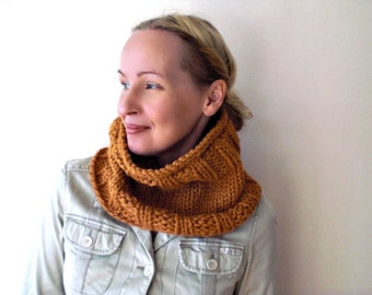 Hand knit winter cowl / pumpkin orange / butterscotch / cozy / chunky neck warmer / soft wool blend / autumn color / winter accessory