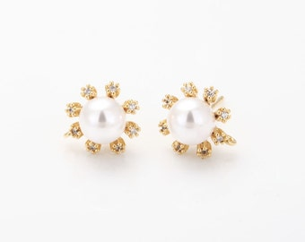 Pearl Flower Post Earring ,jewelry Supplies, Wedding Jewelry, Polished Gold- Plated - 2 Pieces [E0252-PG]