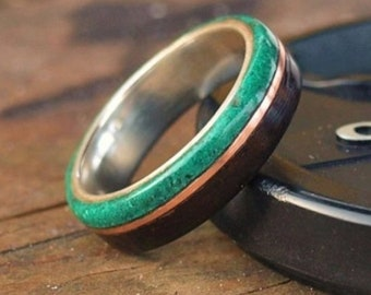 Wooden Rings - Bentwood Silver Ebony Malachite Inlay Rings - Mens Wood Rings, Womens Wood Rings, Wood Engagement Rings, Wood Wedding Bands
