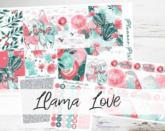 "PREMIUM MATTE (New Layout) Deluxe Weekly Sticker Kit For Use With Erin Condren Vertical Planners - ""Llama Love"""