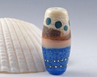 Lampwork Glass Bead, Handmade lampwork focal bead, artist lampwork, bead pendant, bead jewelry supplies, glass focal bead, Mermaid Tail