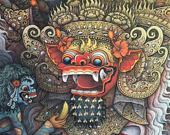 Balinese Traditional Painting Barong Dance with Hanuman Acrylic on Canvas Original Hand Painted By Artist Ubud Art
