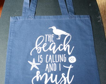 The Beach Is Calling And I Must Go Tote Bag - Small Bag - Vinyl Letters - Navy
