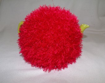 Crochet Christmas tea cosy for a 6 cup teapot,sparkly red,eyelash