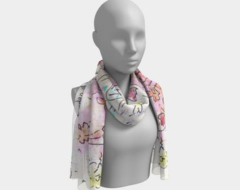 Garden of Hope Summer Scarf Soft Colors Printed Scarf Long Chiffon Scarf Fashion Scarf Floral Scarves Lightweight Scarf Gift for Bridesmaid