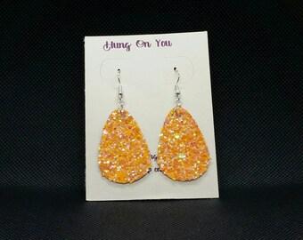 Orange iridescent teardrop earrings