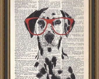 Nerdy dalmation wearing red glasses illustration printed on a vintage dictionary page. Wall Decor. Dalmation Art, Gift Idea, Dog Lovers Gift