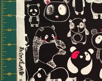 Pandas on Black - Japanese Import Fabric - Cotton Oxford - Westex AnimaLand HALF YD