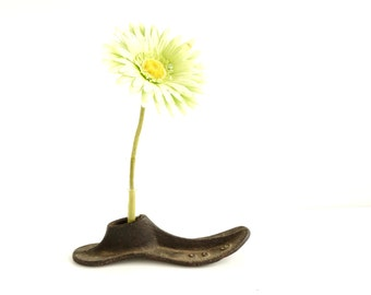 Vintage / Antique Cast Iron Shoe Form, No.C3 with Test Tube (c.1920s) - Repurpose as a Test Tube Flower Vase, Home Decor, Bookends, and more