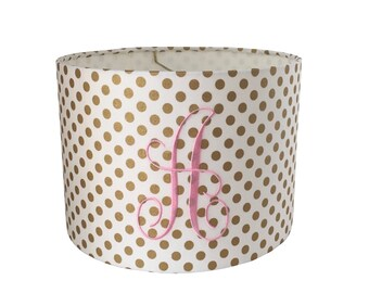Polka dot lamp shade etsy monogramed gold polka dot lampshade baby girl nursery decor girls bedroom gold polka dot mozeypictures Image collections