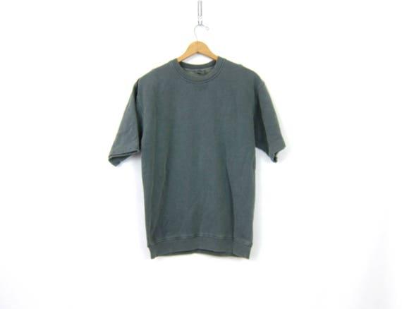 Pigment Dyed Cotton Sweatshirt Gray Green  Overdyed Vintage 90s Sweatshirt Short Sleeve Thermal Pullover Women's Size Medium