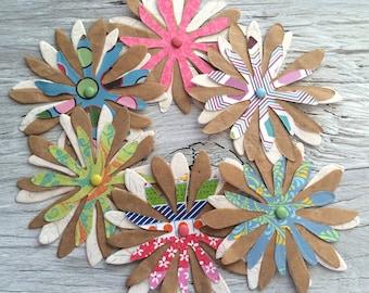 Handmade Paper flowers, flower embellishments-  set of 6   2.5 inch diameter